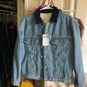 Brandy Melville fluffy vintage jean jacket